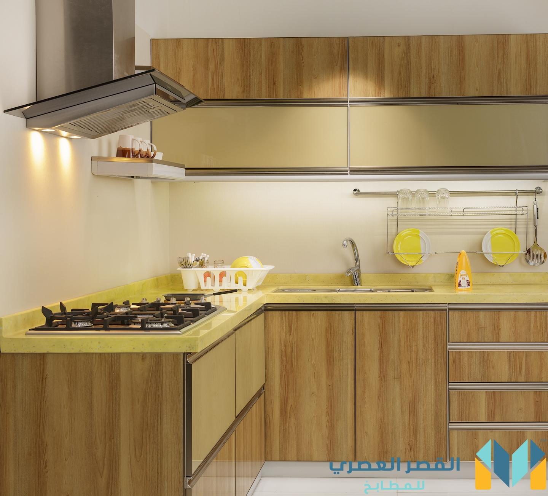 مطبخ المنيوم مع درف زجاجية